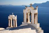 Oia church in Santorini island, Greece — Stock Photo