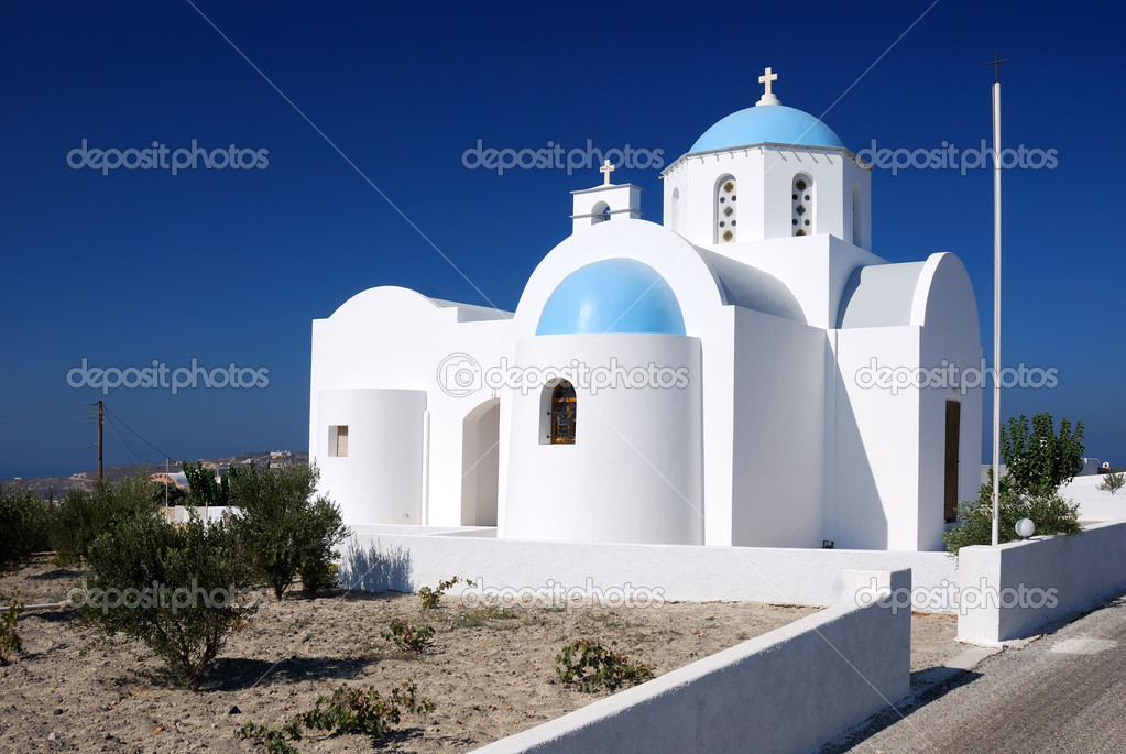 Traditional church architecture in Santorini island, Greece  Stock Photo #7274458
