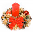 Christmas red ornament with candle — Stock Photo