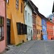 Stock Photo: Medieval street view in Sighisoara, Transylvania