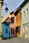 Medieval street view in Sighisoara, Transylvania — Stock Photo