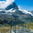 Gornergrat railway and Matterhorn in Switzerland - Stock Photo