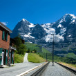 Railway station of Wengernalp on Eiger route - Stock Photo