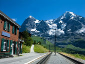 Railway station of Wengernalp on Eiger route — Stock Photo