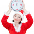 Beautiful girl holding Christmas watch. — Stock Photo #7369024