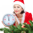 Stock Photo: Girl dressed as Santa, waiting for the new year