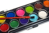 Enkel akvarell målar palett, isolerade över vita — Stockfoto