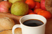 Coffee, bread and fruit — Stock Photo