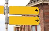 Yellow blank singpost — Stock Photo