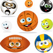 Stock Vector: Funny smiling cartoon balls