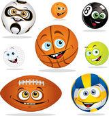 Funny smiling cartoon balls — Stock Vector