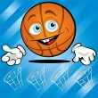Funny smiling basket ball — Stock Vector