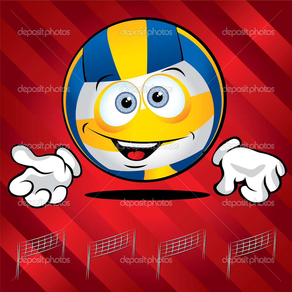 Funny smiling volley ball on the red background