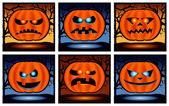 Halloween pumpkin icon set — Stock Photo