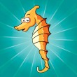 Funny cartoon seahorse - Stock Vector