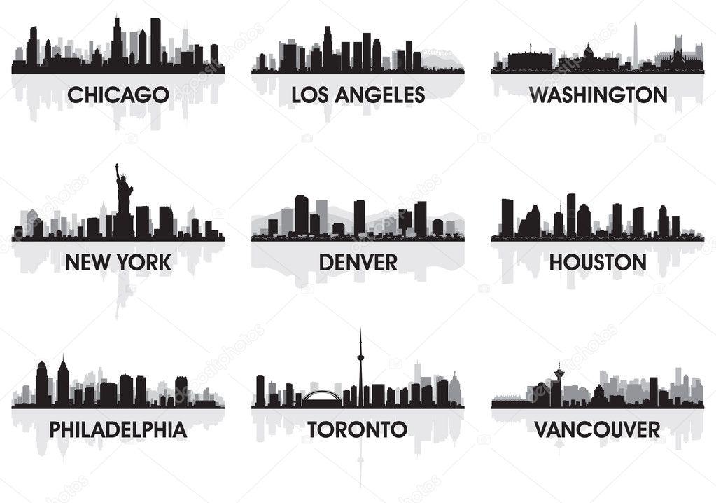 city skyline stock vector  u00a9 yurkaimmortal 7647746 Chicago Skyline Vector Los Angeles Palm Trees