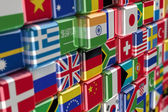 International flag-cubes — Stock Photo