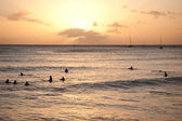 Surfers at sunset — Stockfoto