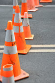 Traffic cones blocking street — Stock Photo