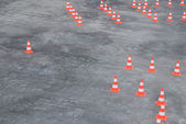 Large group of traffic cones in rows — Stock Photo