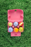 Easter eggs in pink box — Stock Photo