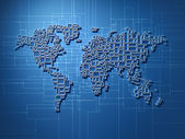 World map rectangular — Stock Photo