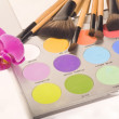 Professional makeup palette and brushes — Stock Photo #7238970