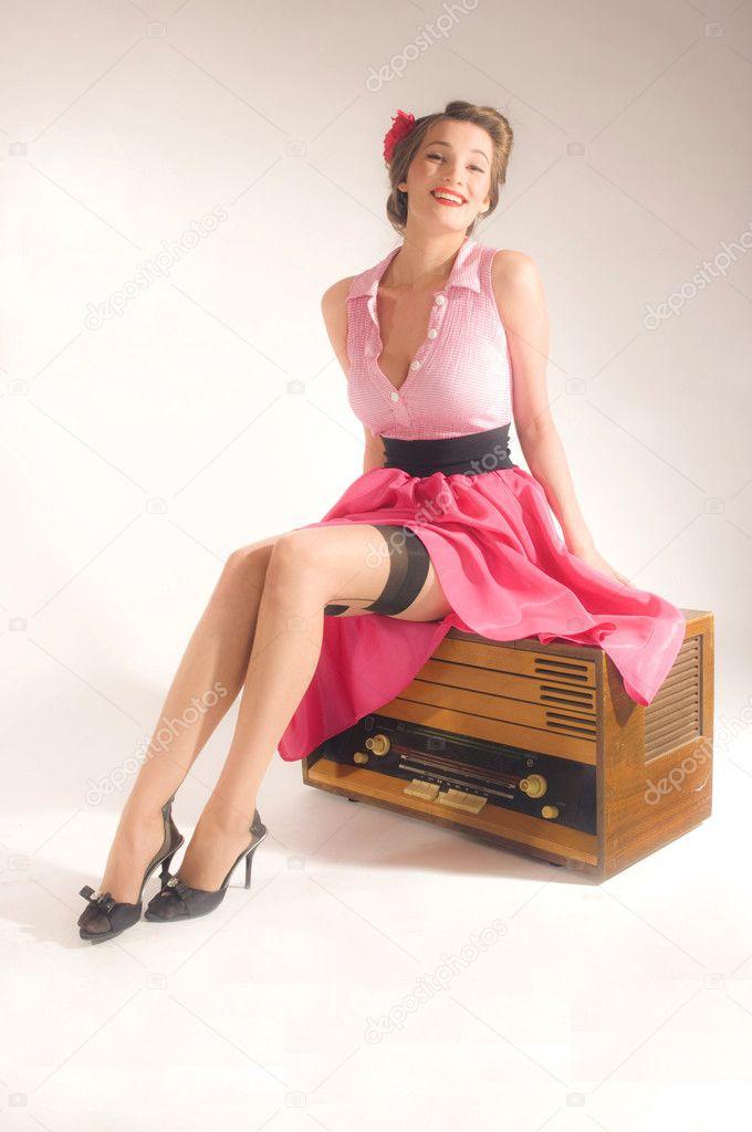 Pin up girl listen retro radio stock photo sharyfox 7539969 - Photo pin up ...