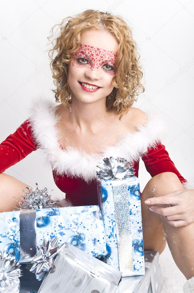 Christmas woman with gifts box  Stock Photo #7651959