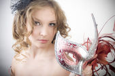 Portrait women with carnival mask — Stock Photo