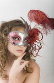 Portrait women in carnival mask — Stock Photo