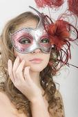 Portrét ženy v karnevalové masce — Stock fotografie