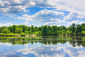 Clouds reflection on lake. — Stock Photo