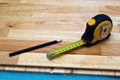 Installing wood floor — Stock Photo