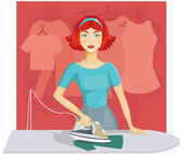 Woman ironing clothes — Stock Vector