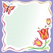 Stylized flowers frame with butterfly — Stock Vector