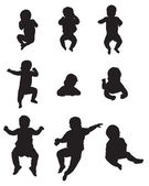Childrens silhouettes — Stock Vector