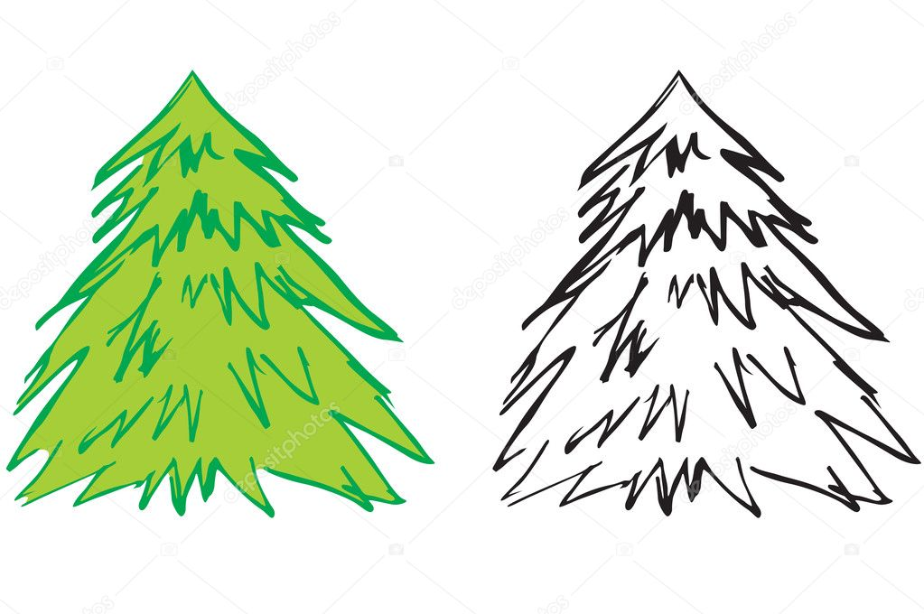 Contour fir — Stock Vector #7358096