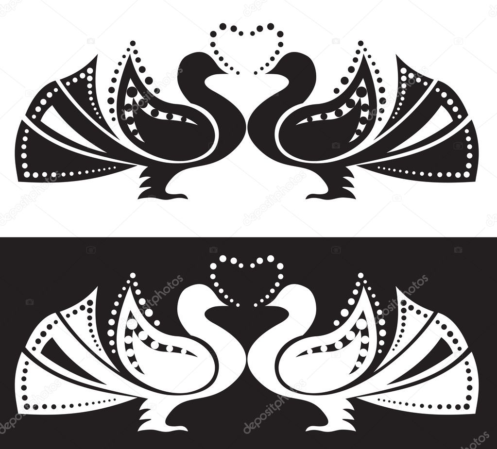 The stylized image of a pair of doves. Ornament  Stock Vector #7364850