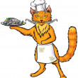Red cat chef — Stock Vector #7465369