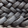 Stacking of used tires — Stock Photo