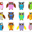 Set color owls. — Stockvektor