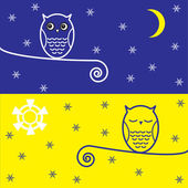 Two owls — Vector de stock