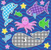 Deniz hayvanları — Stok Vektör