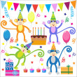Set of vector birthday party elements with funny monkeys — Vector de stock #7254953