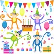 Set of vector birthday party elements with funny monkeys — Stock Vector