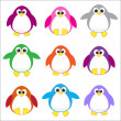 Stok Vektör: Color penguins clip art