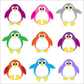 Color penguins clip art — Stock Vector
