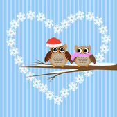Owls couple in love — Stock Vector