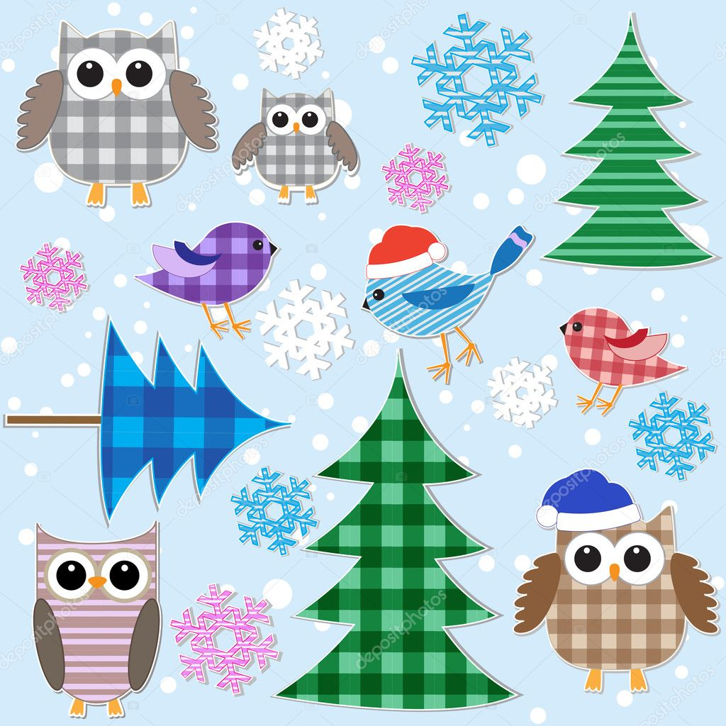 Winter textile stickers. Vector set. — Stock Vector #7526770